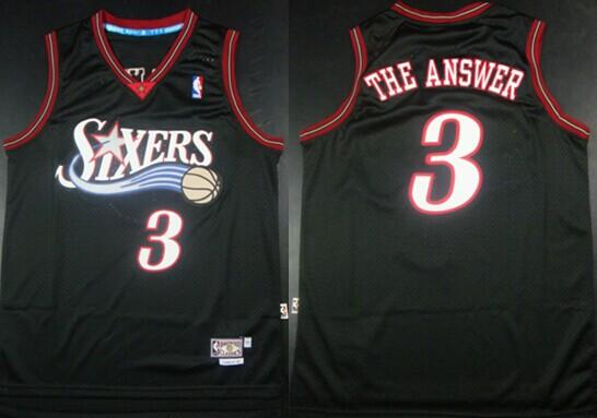 Philadelphia 76ers #3 The Answer Nickname Black Swingman Throwback Jersey