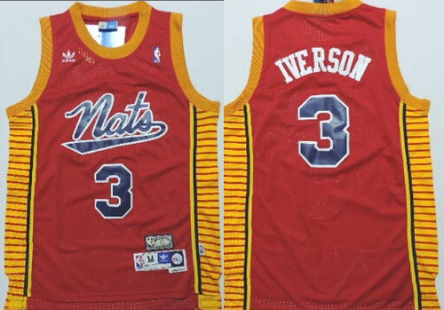 Philadelphia Sixers #3 Allen Iverson Nats Red Swingman Throwback Jersey