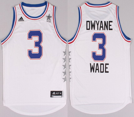 2015 NBA Eastern All-Stars #3 Dwyane Wade Revolution 30 Swingman White Jersey