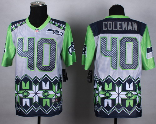 Nike Seattle Seahawks #40 Derrick Coleman 2015 Noble Fashion Elite Jersey