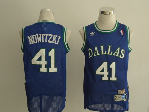 Dallas Mavericks #41 Dirk Nowitzki Light Blue Swingman Throwback Jersey