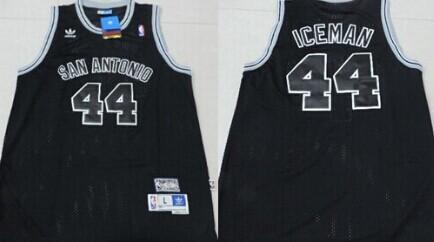 San Antonio Spurs #44 Iceman Nickname Black Swingman Throwback Jersey