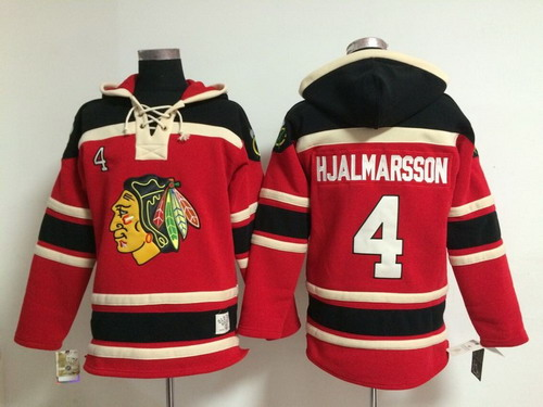 Old Time Hockey Chicago Blackhawks #4 Niklas Hjalmarsson Red Kids Hoodie