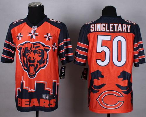 Nike Chicago Bears #50 Mike Singletary 2015 Noble Fashion Elite Jersey