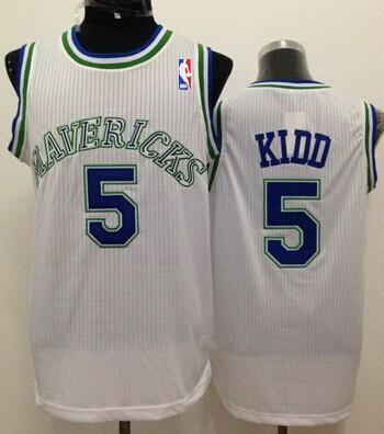 Dallas Mavericks #5 Jason Kidd White Swingman Throwback Jersey