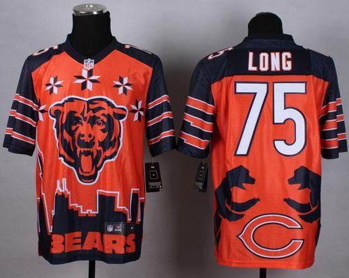 Nike Chicago Bears #75 Kyle Long 2015 Noble Fashion Elite Jersey