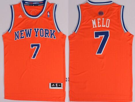New York Knicks #7 Melo Nickname Orange Swingman Jersey