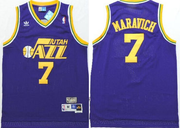 Utah Jazz #7 Pete Maravich Purple Swingman Throwback Jersey