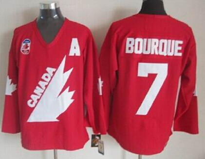 Team Canada #7 Ray Bourque 1991 Olympic Red Throwback CCM Jersey