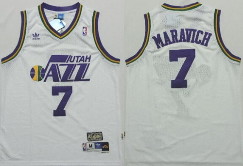 Utah Jazz #7 Pete Maravich White Swingman Throwback Jersey