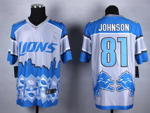 Nike Detroit Lions #81 Calvin Johnson 2015 Noble Fashion Elite Jersey