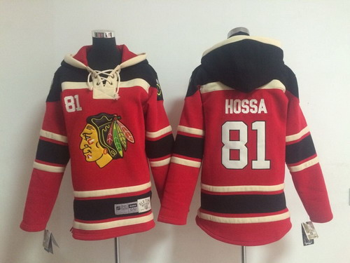 Old Time Hockey Chicago Blackhawks #81 Marian Hossa Red Kids Hoodie