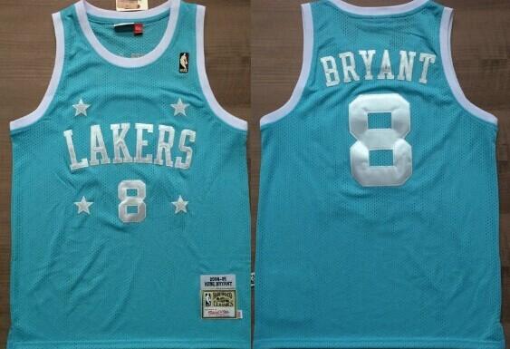 Los Angeles Lakers #8 Kobe Bryant Light Blue With Star Swingman Throwback Jersey