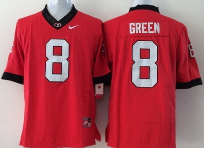 Georgia Bulldogs #8 A.J. Green 2014 Red Limited Kids Jersey