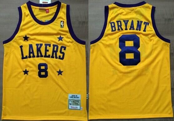 Los Angeles Lakers #8 Kobe Bryant Yellow With Purple Star Swingman Throwback Jersey