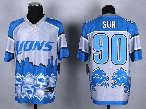 Nike Detroit Lions #90 Ndamukong Suh 2015 Noble Fashion Elite Jersey