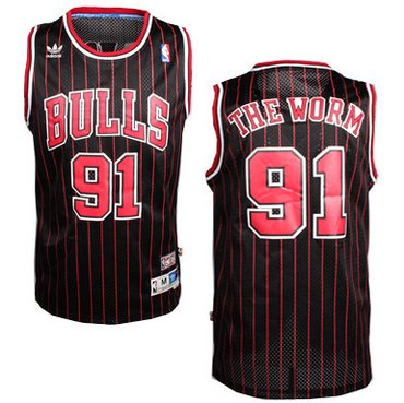 Chicago Bulls #91 The Worm Nickname Black Pinstripe Swingman Throwback Jersey
