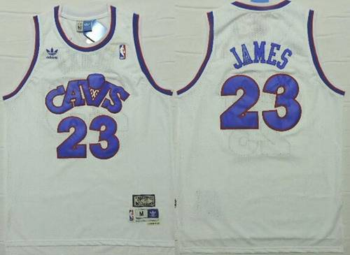 Cleveland Cavaliers #23 LeBron James CavFanatic White With Blue Swingman Throwback Jersey