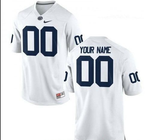 Custom Men's Penn State Nittany Lions Nike White Limited Football Jersey