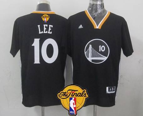 Golden State Warriors #10 David Lee 2015 The Finals New Black Short-Sleeved Jersey