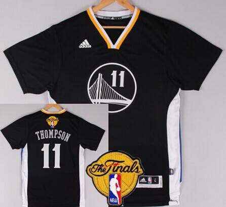 Golden State Warriors #11 Klay Thompson 2015 The Finals New Black Short-Sleeved Jersey