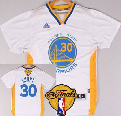 Golden State Warriors #30 Stephen Curry 2015 The Finals New White Short-Sleeved Jersey