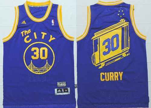 Golden State Warriors #30 Stephen Curry The City Blue Hardwood Classics Soul Swingman Throwback Jersey