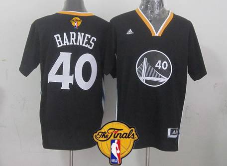 Golden State Warriors #40 Harrison Barnes 2015 The Finals New Black Short-Sleeved Jersey
