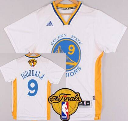Golden State Warriors #9 Andre Iguodala 2015 The Finals New White Short-Sleeved Jersey