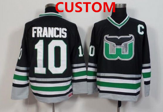 Mens Hartford Whalers Customized Black Throwback Jersey