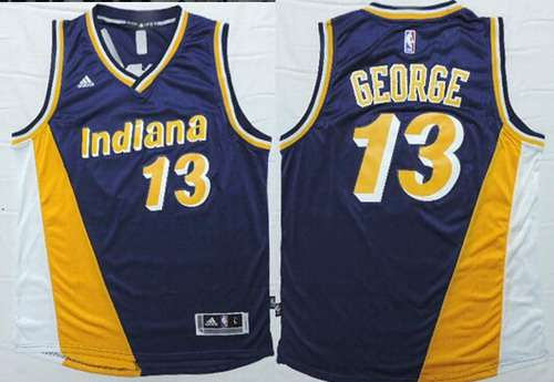 Indiana Pacers #13 Paul George Revolution 30 Swingman 2014 New Navy Blue Multicolor Jersey