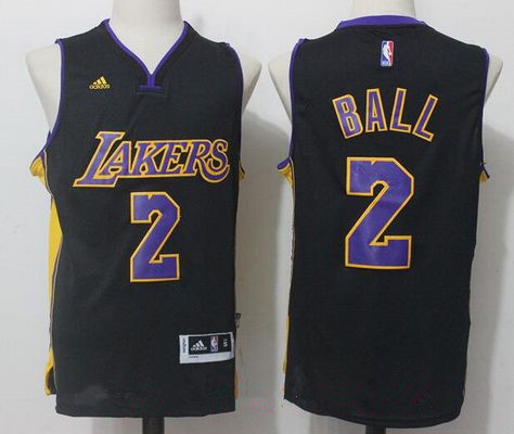 Men's 2017 Draft Los Angeles Lakers #2 Lonzo Ball Black Stitched NBA adidas Revolution 30 Swingman Jersey