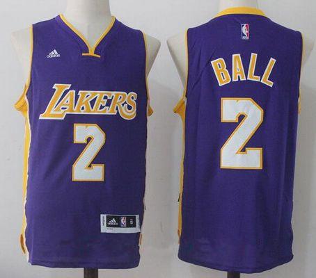 Men's 2017 Draft Los Angeles Lakers #2 Lonzo Ball Purple Stitched NBA adidas Revolution 30 Swingman Jersey