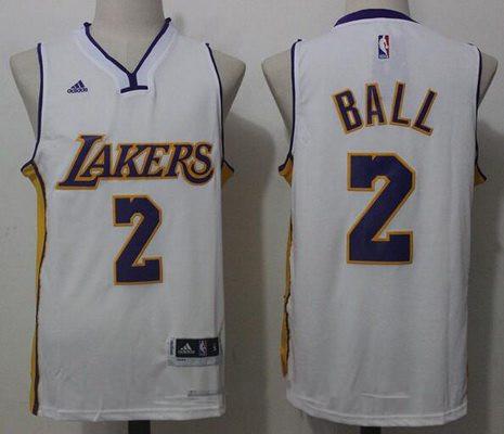 Men's 2017 Draft Los Angeles Lakers #2 Lonzo Ball White Stitched NBA adidas Revolution 30 Swingman Jersey