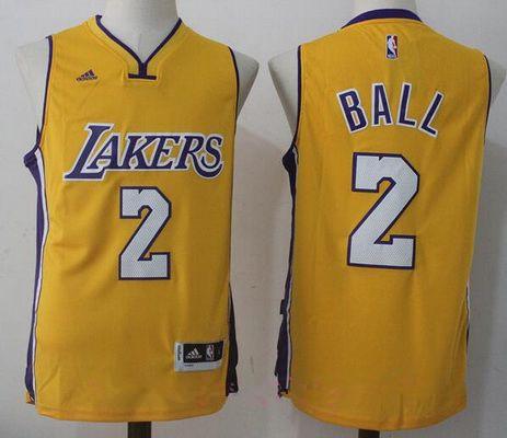 Men's 2017 Draft Los Angeles Lakers #2 Lonzo Ball Yellow Stitched NBA adidas Revolution 30 Swingman Jersey