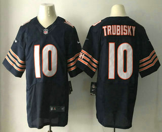 Men's 2017 NFL Draft Chicago Bears #10 Mitchell Trubisky Navy Blue Team Color Stitched NFL Nike Elite Jersey