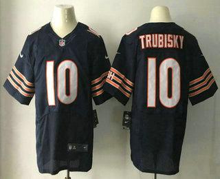 Men's 2017 NFL Draft Chicago Bears #10 Mitchell Trubisky Navy Blue Team Color Stitched NFL Nike Elite Jersey
