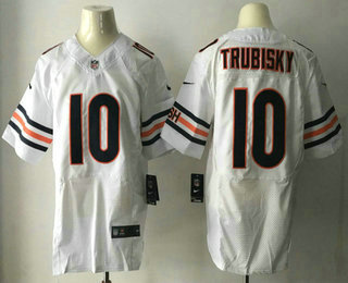 Men's 2017 NFL Draft Chicago Bears #10 Mitchell Trubisky White Road Stitched NFL Nike Elite Jersey