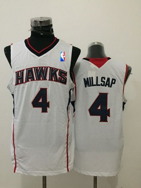 Men's Atlanta Hawks #4 Paul Millsap White Swingman Jersey