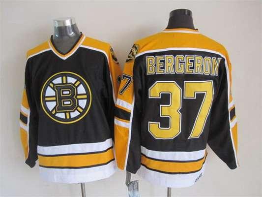 Men's Boston Bruins #37 Patrice Bergeron 1996-97 Black CCM Vintage Throwback Jersey