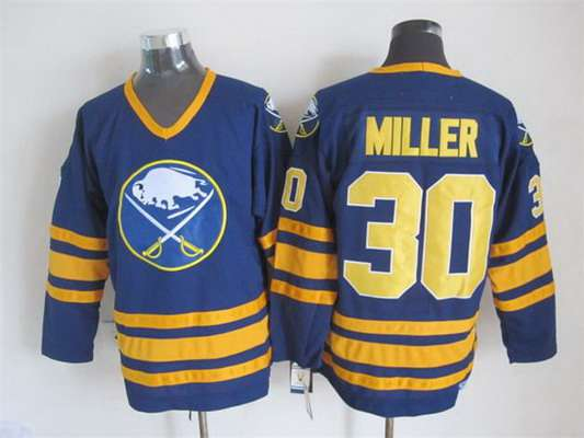 Men's Buffalo Sabres #30 Ryan Miller 1983-84 Navy Blue CCM Vintage Throwback Jersey