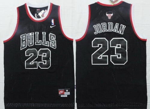 Men's Chicago Bulls #23 Michael Jordan All Black With White Outline Soul Swingman Jersey