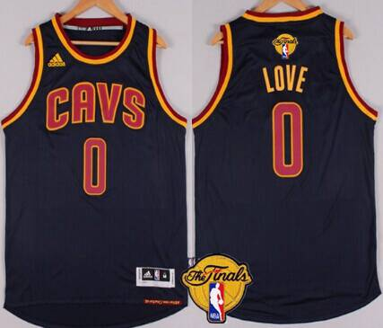 Men's Cleveland Cavaliers #0 Kevin Love 2015 The Finals New Navy Blue Jersey