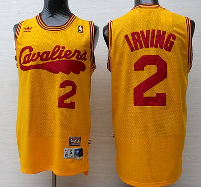 Men's Cleveland Cavaliers #2 Kyrie Irving 2009 Yellow Hardwood Classics Soul Swingman Throwback Jersey
