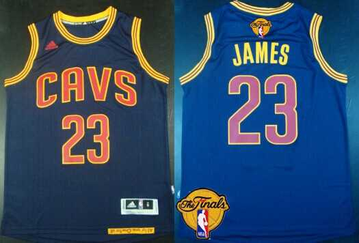 Men's Cleveland Cavaliers #23 LeBron James 2015 The Finals New Navy Blue Jersey