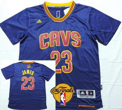 Men's Cleveland Cavaliers #23 LeBron James 2015 The Finals New Navy Blue Short-Sleeved Jersey