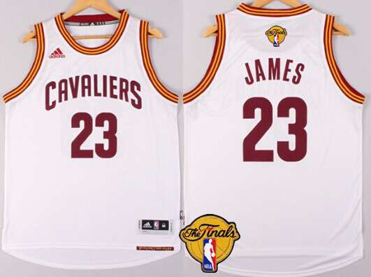 Men's Cleveland Cavaliers #23 LeBron James 2015 The Finals New White Jersey