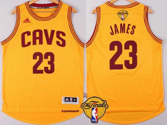 Men's Cleveland Cavaliers #23 LeBron James 2015 The Finals New Yellow Jersey