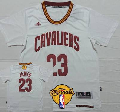 Men's Cleveland Cavaliers #23 LeBron James Revolution 2015 The Finals New White Short-Sleeved Jersey