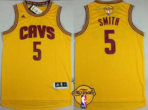 Men's Cleveland Cavaliers #5 J.R. Smith 2015 The Finals New Yellow Jersey